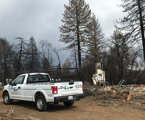 Cal Inc truck at fire site